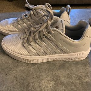 K Swiss silver metallic thread sneakers EUC